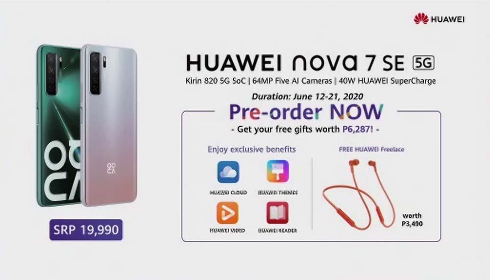 Huawei Nova 7 SE 5G price specs preorder period freebies Revu Philippines