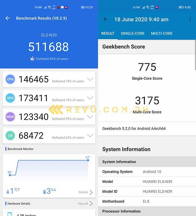 Huawei P40 Pro Plus Antutu and Geekbench benchmark scores via Revu Philippines