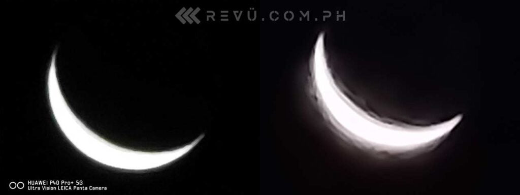 Huawei P40 Pro Plus vs Samsung Galaxy S20 Ultra: 100x zoom moon shot comparison picture by Revu Philippines