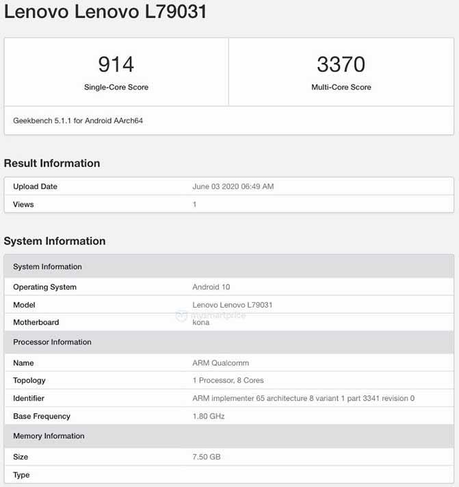 Lenovo Legion Gaming Phone Geekbench benchmark scores leak via Revu Philippines