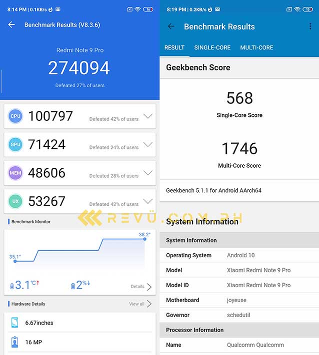 Xiaomi Redmi Note 9 Pro Antutu and Geekbench benchmark scores by Revu Philippines