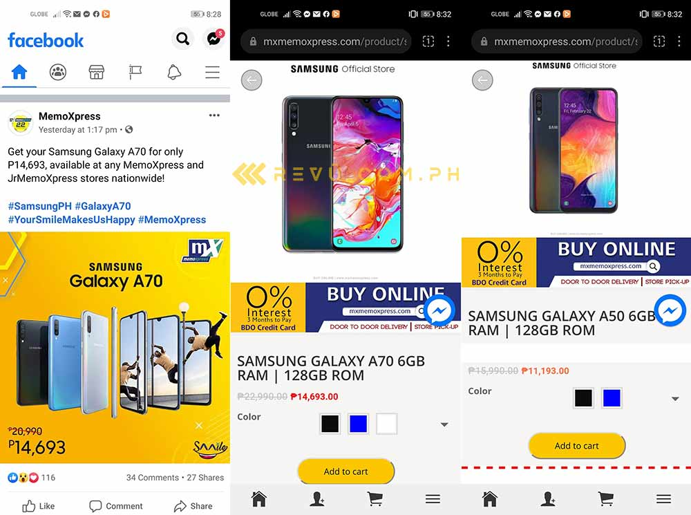 Samsung Galaxy A50 and Samsung Galaxy A70 lower price at MemoXpress from June 2020 via Revu Philippines