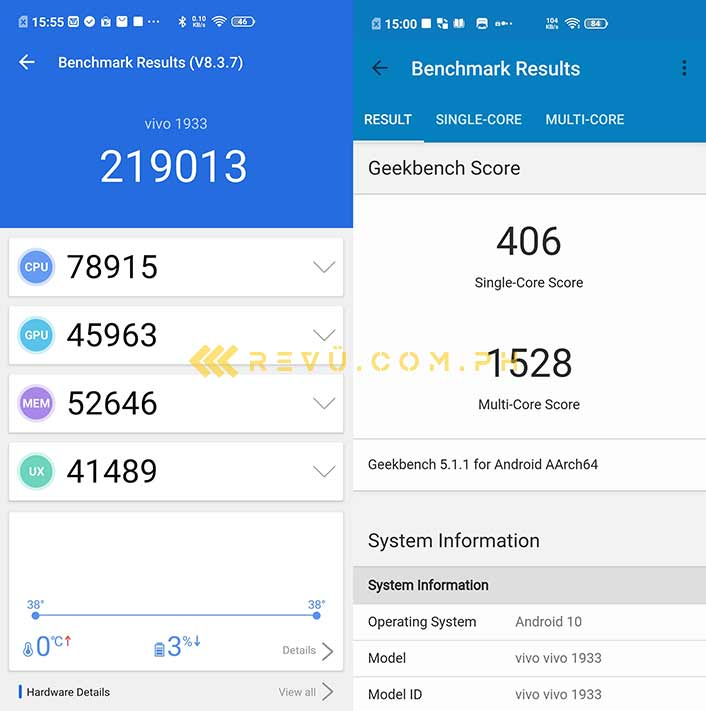 Vivo V19 Antutu and Geekbench benchmark scores via Revu Philippines