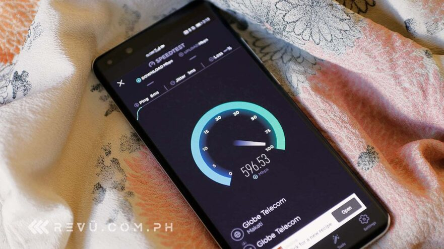 5G speed test on the Globe Telecom Huawei P40 Pro in BGC in June 2020 by Revu Philippines