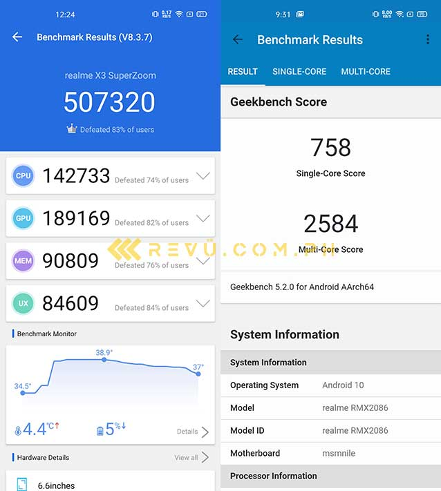 Realme X3 SuperZoom Antutu and Geekbench benchmark scores by Revu Philippines