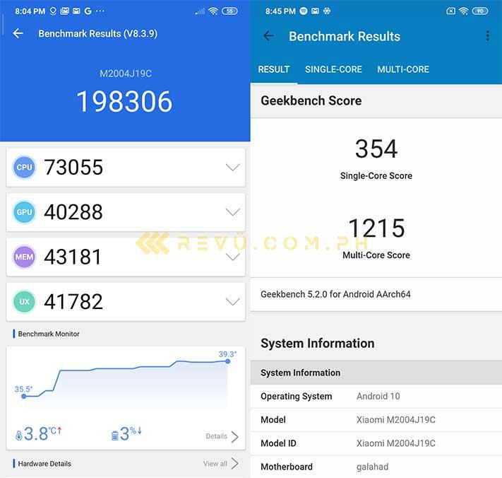 Xiaomi Redmi 9 Antutu and Geekbench benchmark scores via Revu Philippines