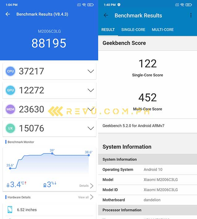 Xiaomi Redmi 9A Antutu and Geekbench benchmark scores by Revu Philippines