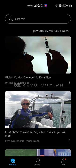 Huawei Petal Search Widget's news page via Revu Philippines