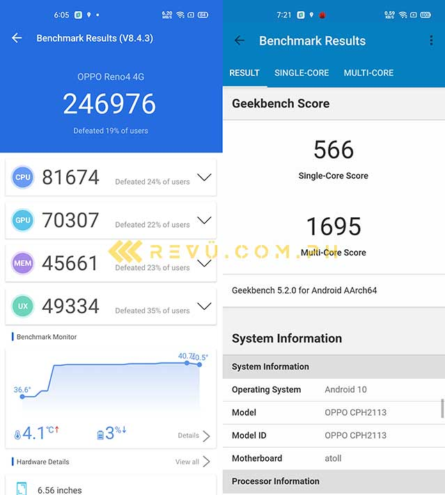 OPPO Reno 4 Antutu and Geekbench benchmark scores by Revu Philippines