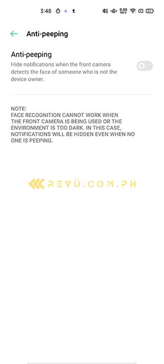 OPPO Reno 4 anti-peeping feature via Revu Philippines