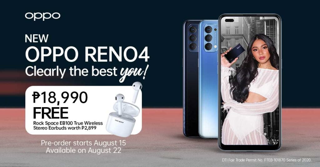 OPPO Reno 4 with Nadine Lustre poster shows price, specs, preorder period and freebie, and availabilityvia Revu Philippines