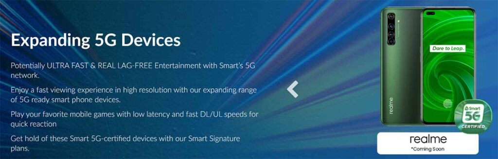 Realme X50 Pro image teaser in Smart Communications 5G phones section on its website via Revu Philippines