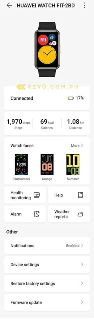 Screenshot of the Huawei Watch Fit phone app via Revu Philippines