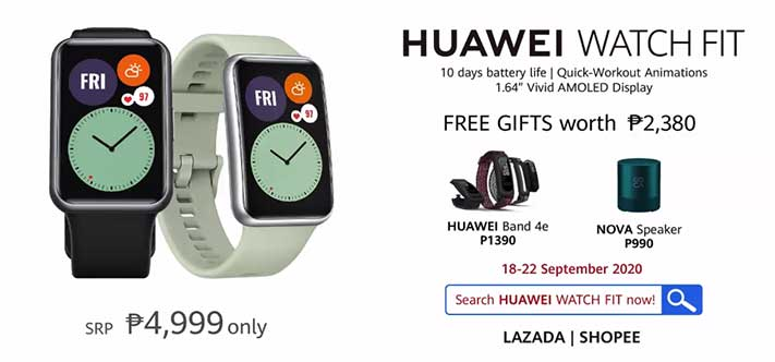 Huawei Watch Fit price, preorder dates and freebies, and availability via Revu Philippines
