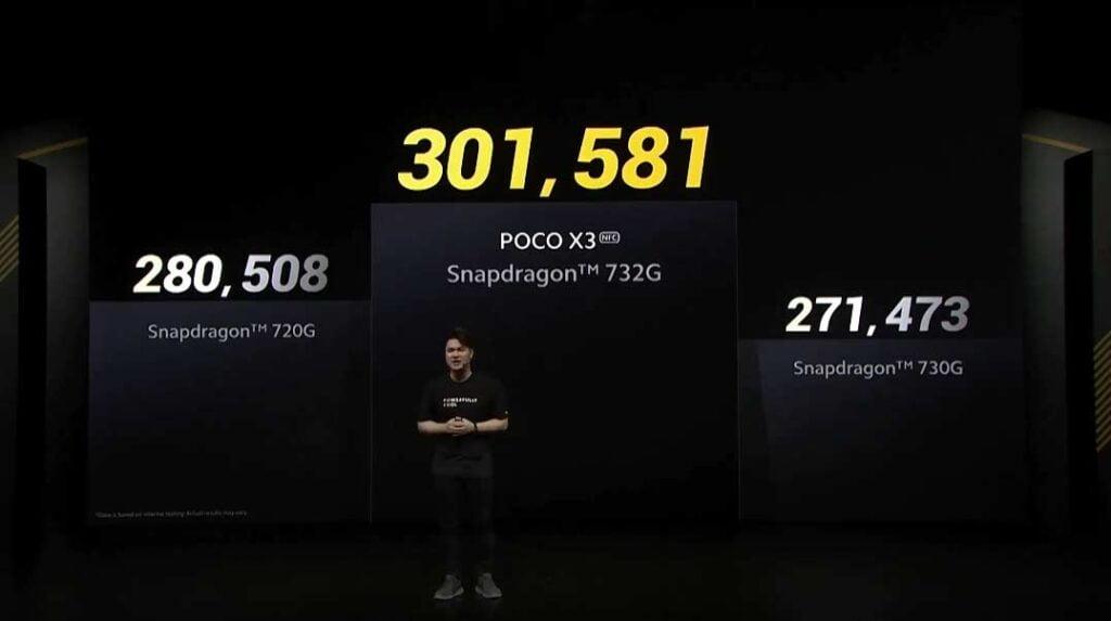 POCO X3 NFC's Qualcomm Snapdragon 732G vs 730G vs 720G Antutu benchmark scores comparison via Revu Philippines