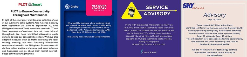 Sept 2020 AAG submarine-cable maintenance: PLDT, Smart, Globe Telecom, Converge, and SKY advisories via Revu Philippines