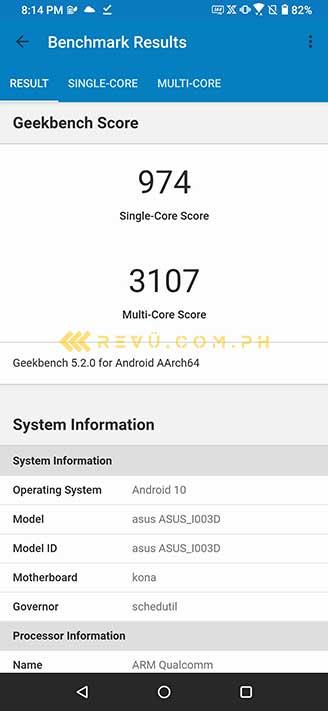 ASUS ROG Phone 3 Geekbench benchmark scores via Revu Philippines