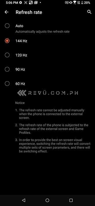 ASUS ROG Phone 3 refresh rate via Revu Philippines