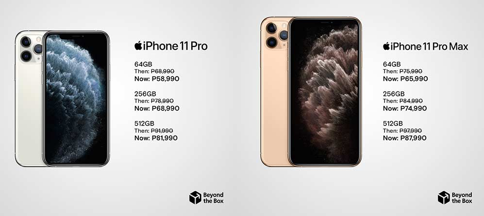 Apple iPhone 11 Pro and iPhone 11 Pro Max Oct 2020 price drop at Beyond The Box via Revu Philippines