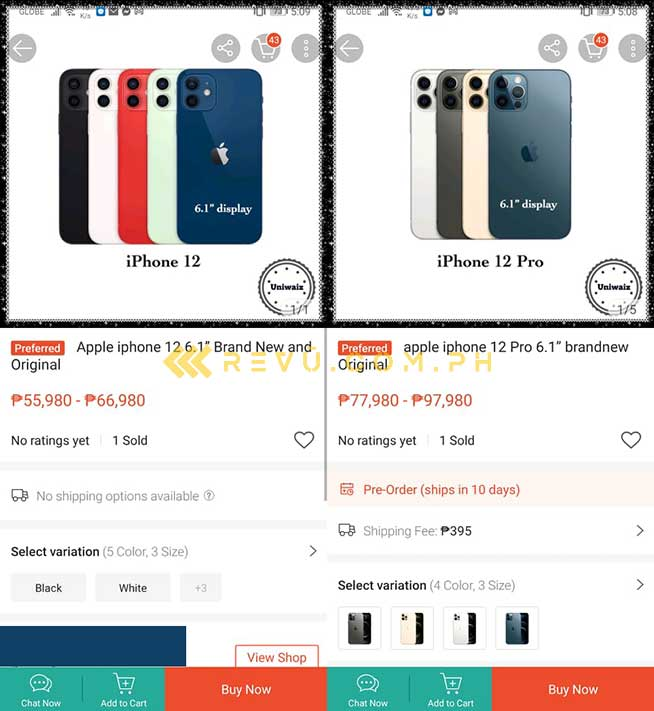 Apple iPhone 12 Pro and iPhone 12 early-bird unofficial price on Shopee via Revu Philippines