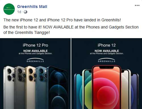 Apple iPhone 12 Pro and iPhone 12 unofficial availability at Greenhills Mall tiangge via Revu Philippines