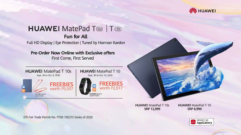 Huawei MatePad T 10s and MatePad T 10 price, specs, and preorder period and freebies via Revu Philippines