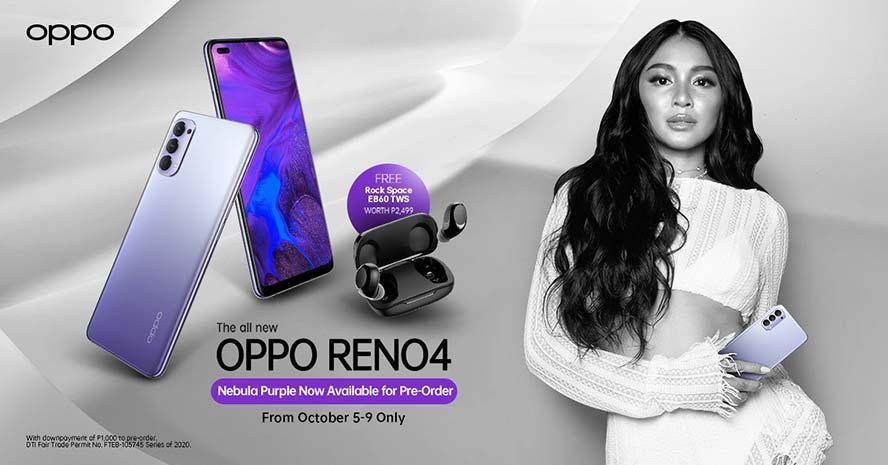 OPPO Reno 4 Nebula Purple price, specs, and preorder period and freebie via Revu Philippines (Poster featuring Nadine Lustre)