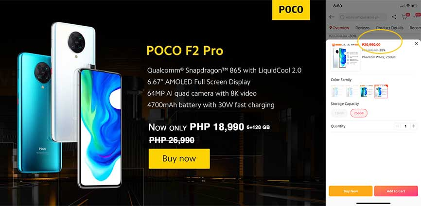 POCO F2 Pro new low prices on Lazada as of October 7, 2020, via Revu Philippines