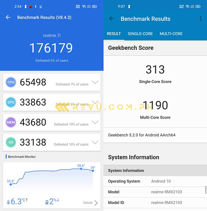 Realme 7i Antutu and Geekbench benchmark scores via Revu Philippines
