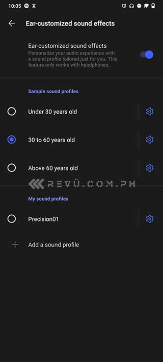 Vivo V20 SE ear-customized sound effects settings via Revu Philippines