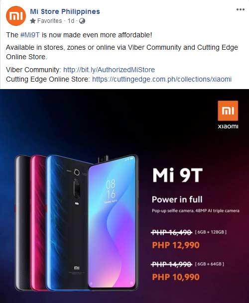 Xiaomi Mi 9T price drop in October 2020 via Revu Philippines