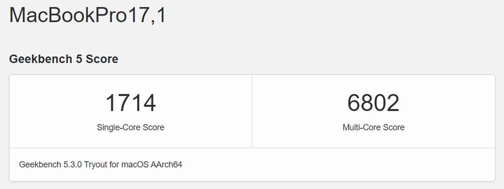 Apple MacBook Pro 13-inch with M1 chip Geekbench benchmark scores via Revu Philippines