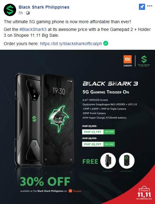 Black Shark 3 11.11 sale price and freebies via Revu Philippines