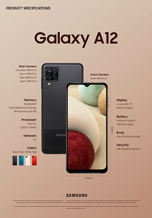 Samsung Galaxy A12 specs in official image via Revu Philippines