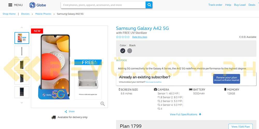 Samsung Galaxy A42 5G's Globe postpaid plan, price, and specs via Revu Philippines