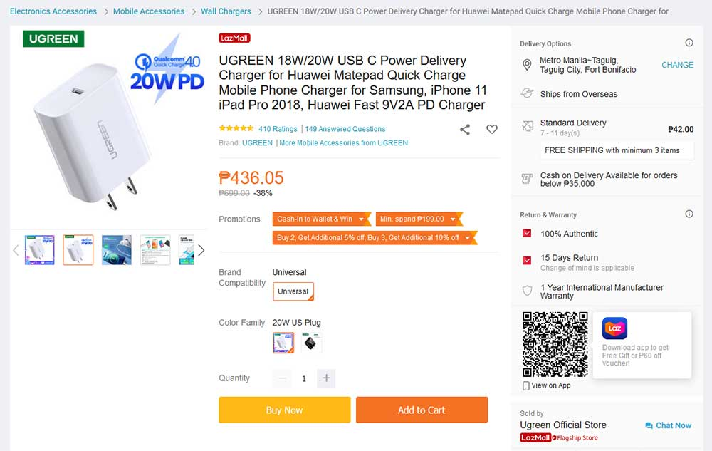 Ugreen 20W charger for Apple iPhone 12 series and others via Revu Philippines