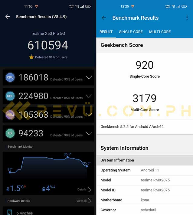 Realme X50 Pro 5G Antutu and Geekbench benchmark scores by Revu Philippines