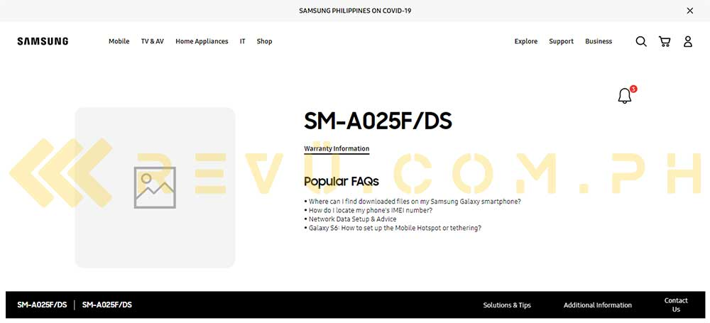 Samsung Galaxy A02s spotted on Samsung Philippines site