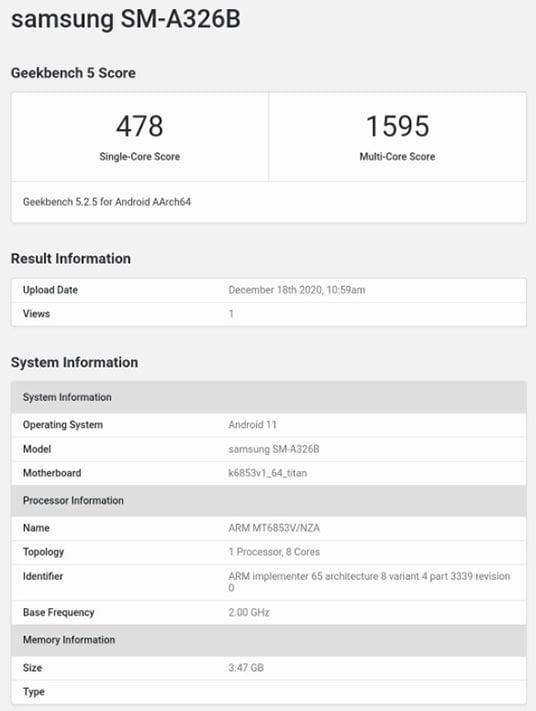 Samsung Galaxy A32 5G Geekbench benchmark scores leak via Revu Philippines