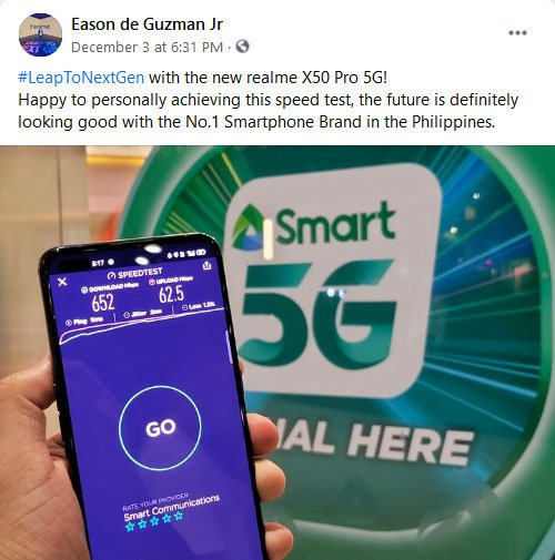 Smart 5G speed test on the Realme X50 Pro 5G in BGC via Revu Philippines