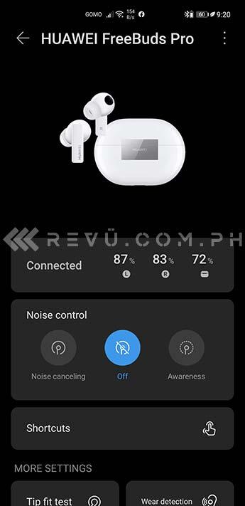 Huawei FreeBuds Pro in Huawei AI Life app via Revu Philippines