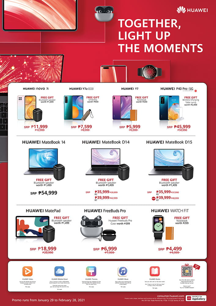 Huawei's Light Up the Moments sale items and their discounted prices via Revu Philippines