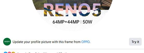 OPPO Reno 5 4G frame on Facebook via Revu Philippines