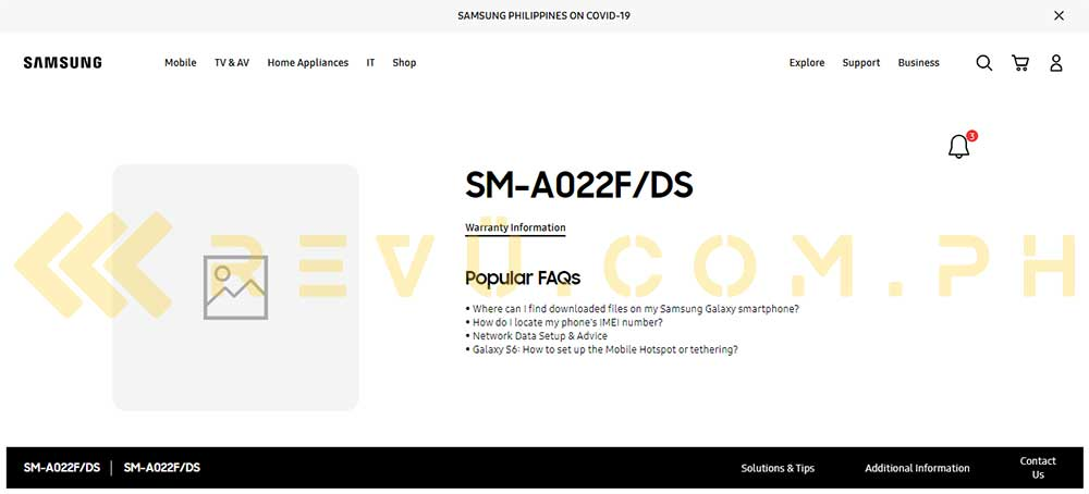 Samsung Galaxy A02 with model name SM-A022F DS spotted on Samsung site by Revu Philippines