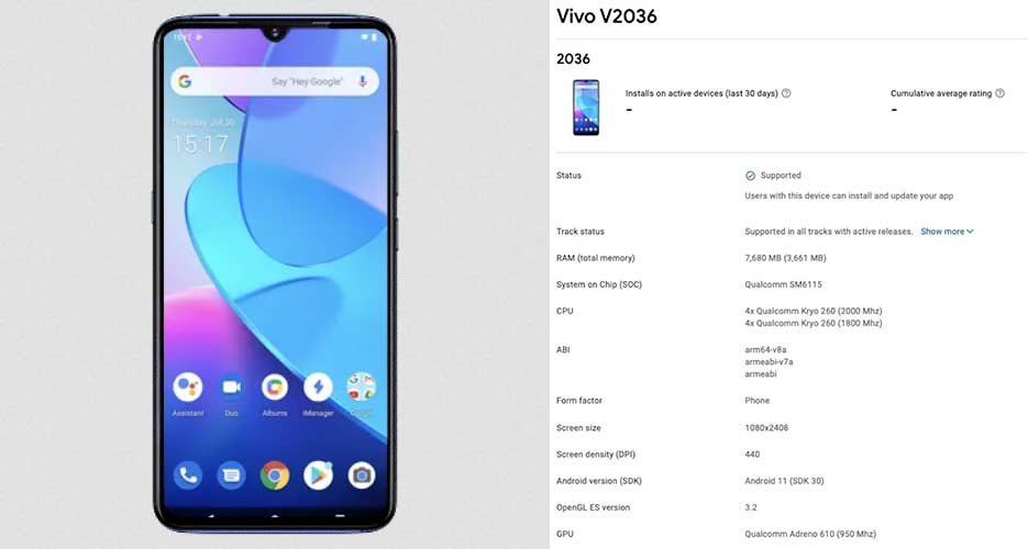 Vivo Y31 (model number V2036) Google Play Console listing via Revu Philippines