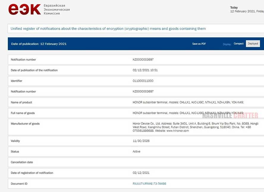 Honor V40 or Honor View 40 on EEC certification site via Revu Philippines