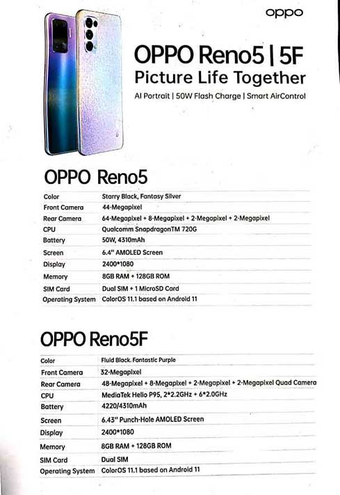 OPPO Reno5 F specs via Revu Philippines