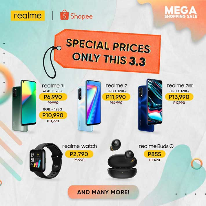 Realme discounted products at Shopee 3.3 Mega Shopping Sale 2021 via Revu Philippines