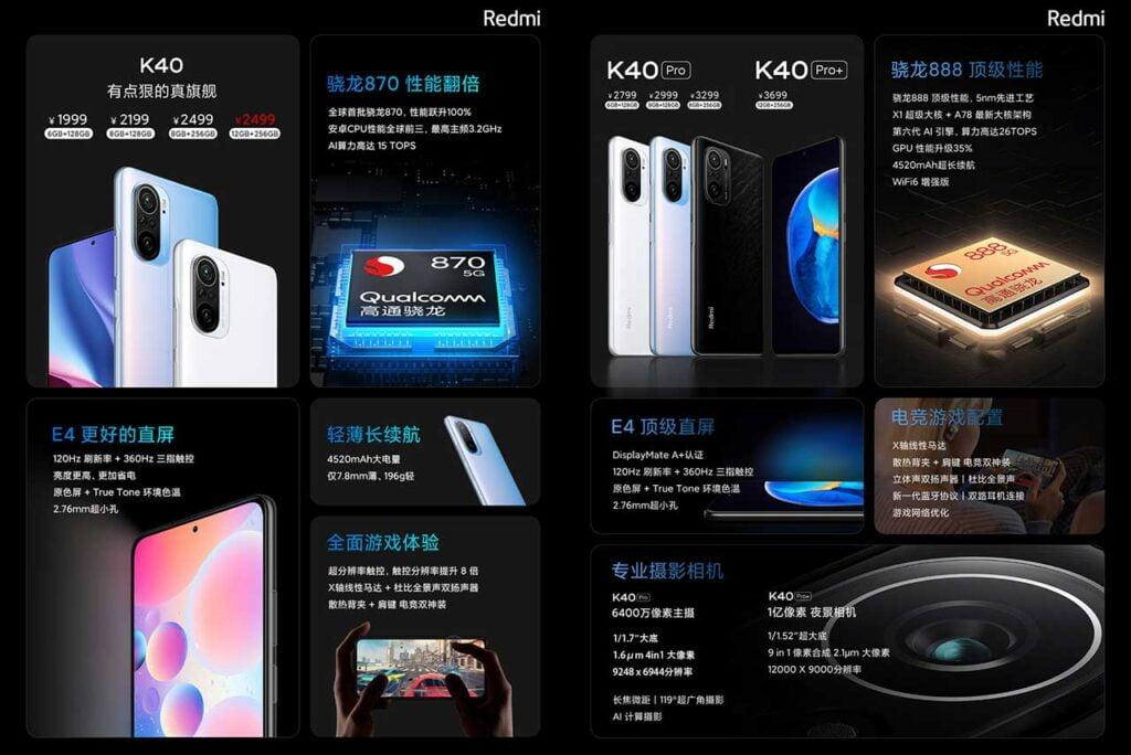 Redmi K40, Redmi K40 Pro, and Redmi K40 Pro Plus prices and specs via Revu Philippines