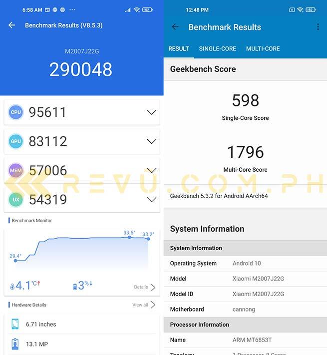 Redmi Note 9T 5G Antutu Geekbench benchmark scores by Revu Philippines